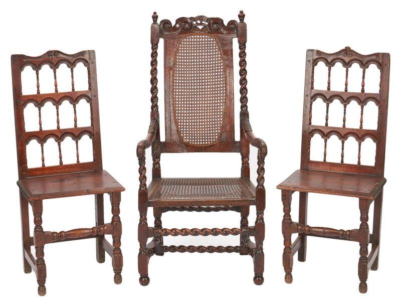 Lot 206: 3 17th Century Chairs, Spanish & English