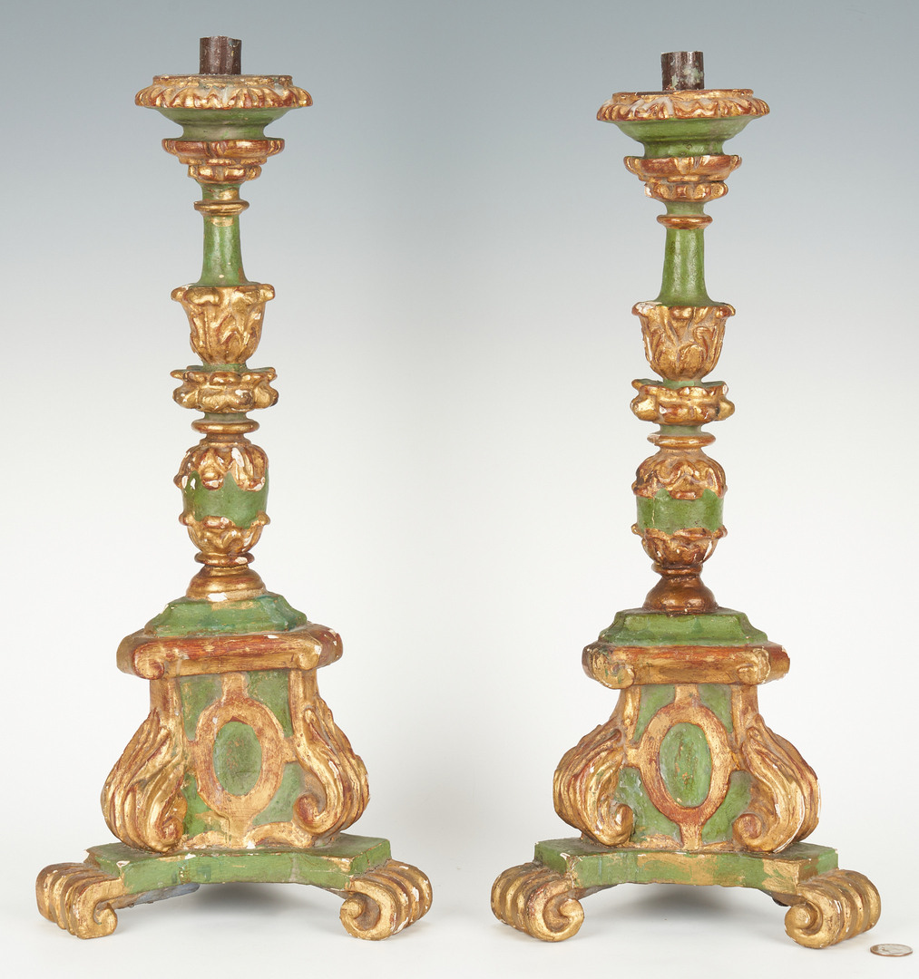 Lot 207: Pair of Carved Baroque Style Candlesticks