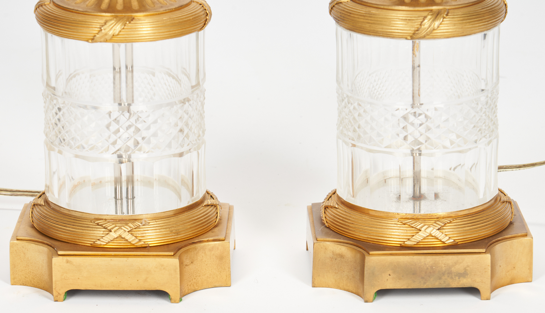 Lot 208: Pair Baccarat Style Crystal Lamps plus Sevres Style Lamp