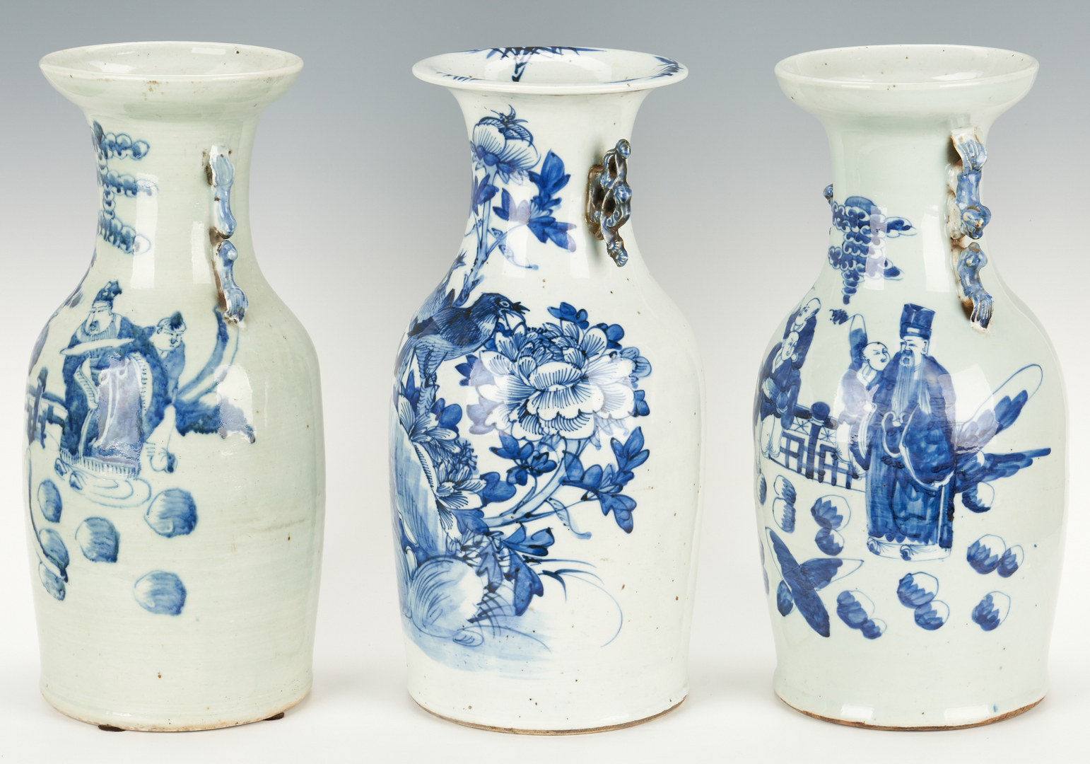 Lot 20: 3 Blue and White Porcelain Vases and Chinese Warrior Plate, 4 items