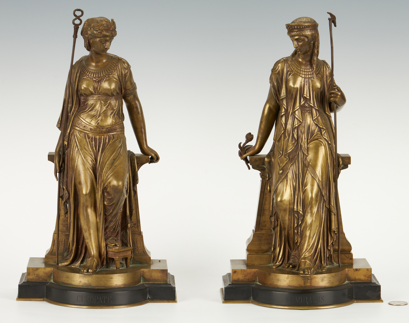 Lot 210: 2 Bouret Bronze Figures: Cleopatra, Semiramis