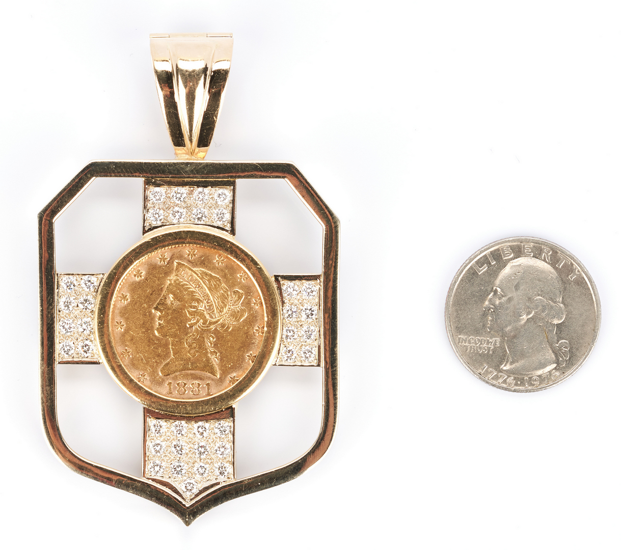 Lot 212: 18K pendant with 1881 Ten Dollar Gold Coin and Diamonds