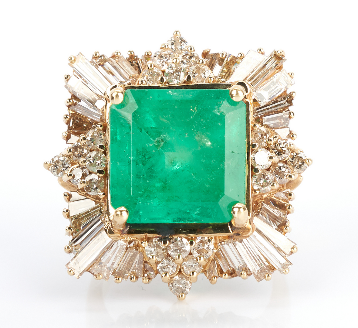 Lot 213: Ladies 14K Square Cut Emerald & Diamond Ring, 13.82 Cts.