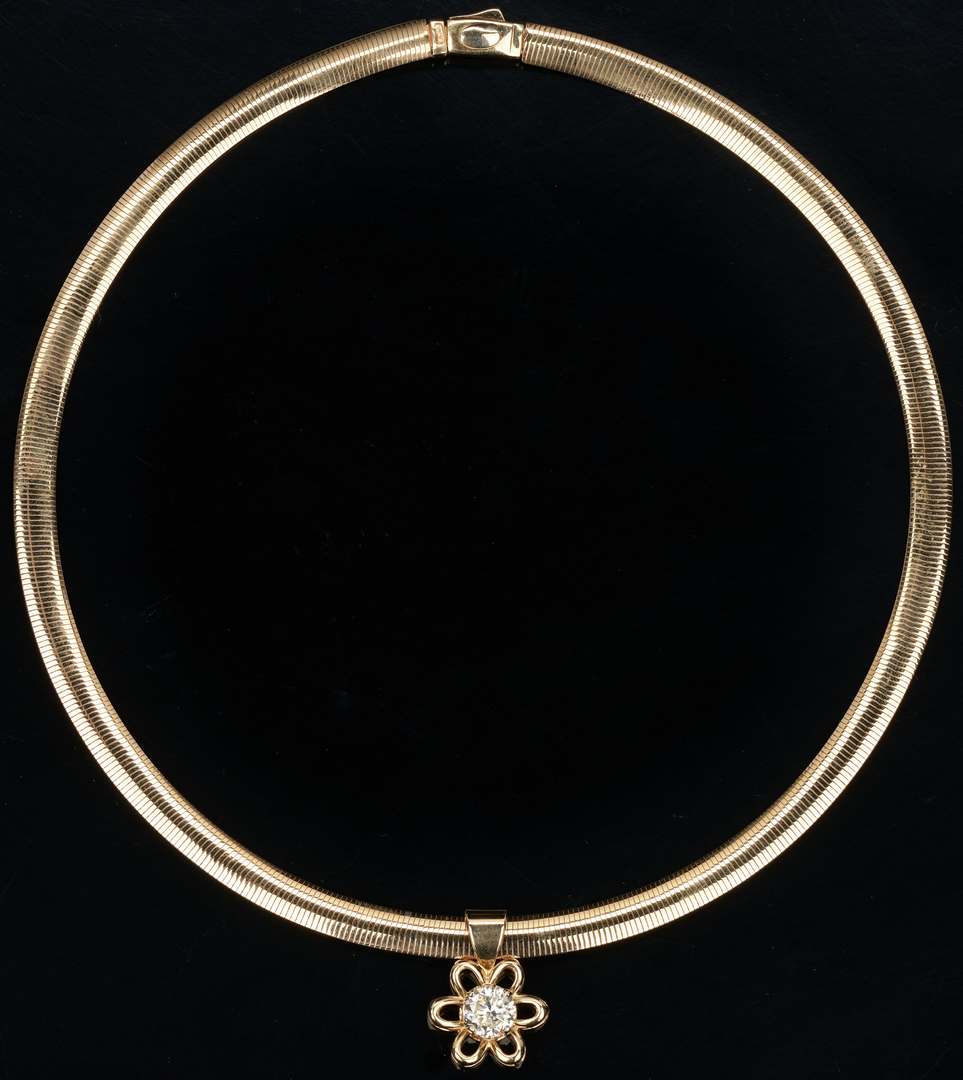 Lot 214: Ladies 14K Necklace with 1.3 ct. Diamond Pendant