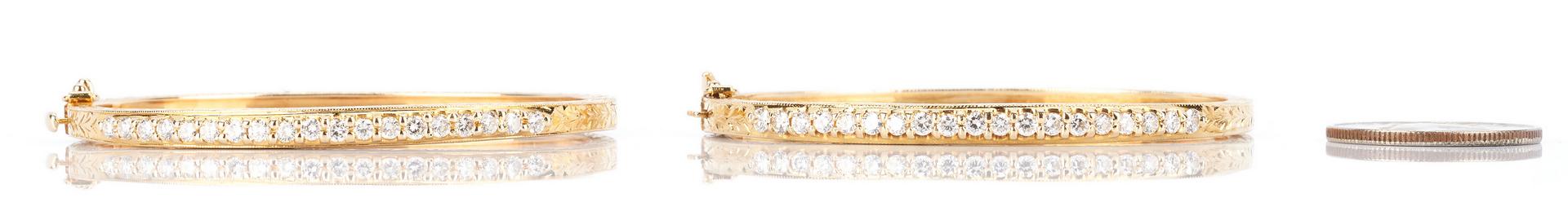 Lot 218: 2 14K Gold and Diamond Bracelets