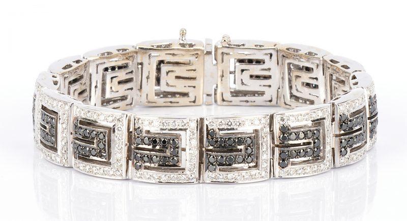 Lot 220: Ladies 14K White & Black Diamond Bracelet