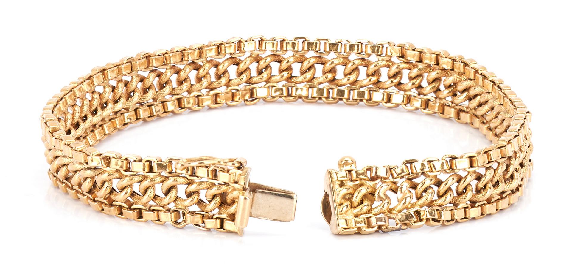 Lot 225: 3 Ladies Gold Bracelets, 14K and 18K