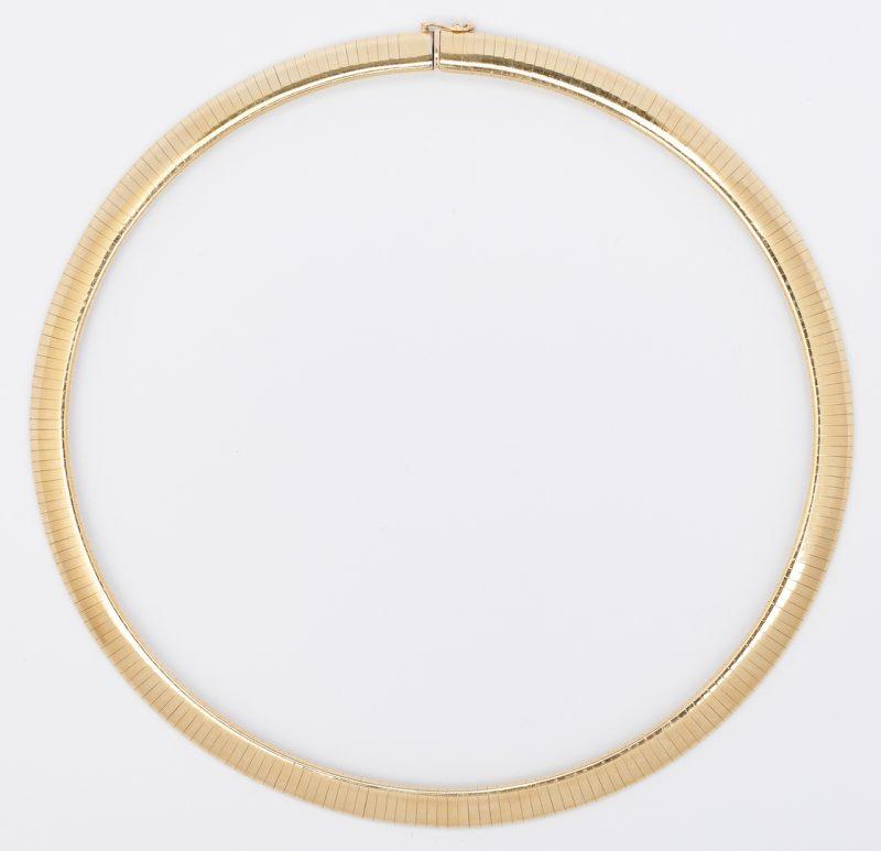 Lot 226: 14k Gold Omega Style Necklace