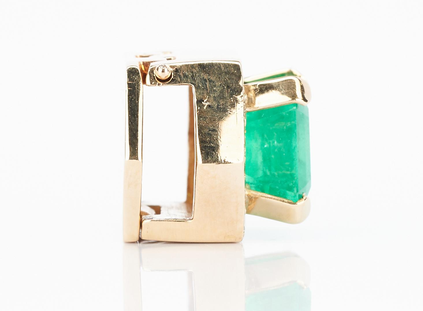 Lot 227: Ladies 14K Emerald & Diamond Slide Pendant