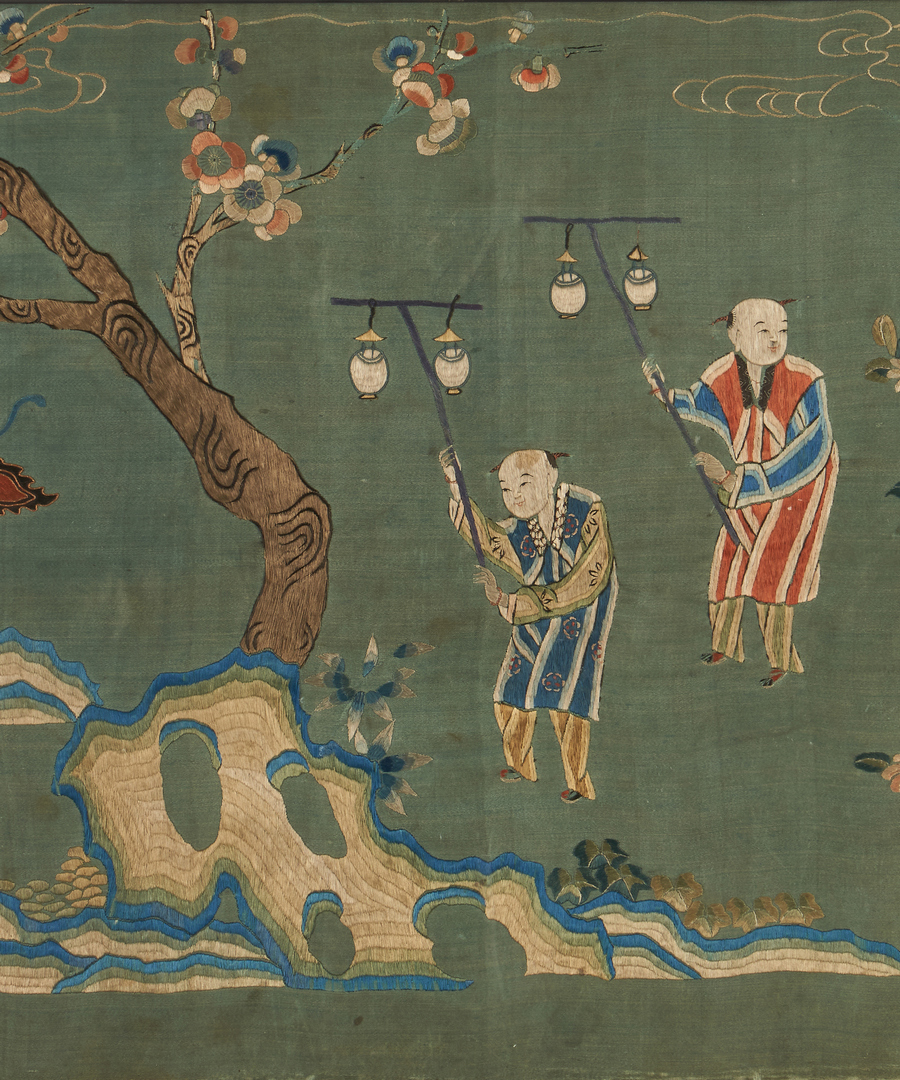 Lot 22: Framed Chinese Embroidered Landscape, Qing Dynasty