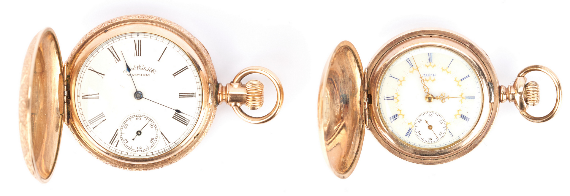 Lot 232: 2 14K Hunting Case Pocket Watches