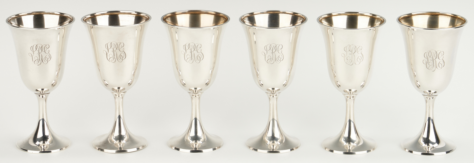 Lot 235: 12 Wallace Sterling Silver Goblets