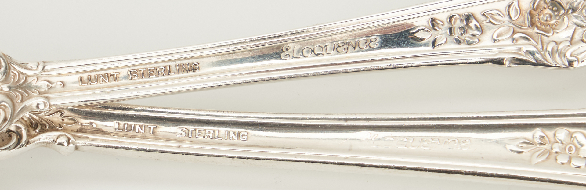 Lot 236: 60 Pcs. Lunt Eloquence Pattern Sterling Flatware