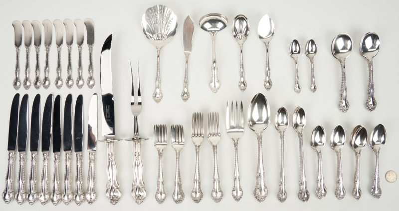 Lot 237: 84 Pcs. Sterling Silver, incl. Gorham English Gadroon Flatware