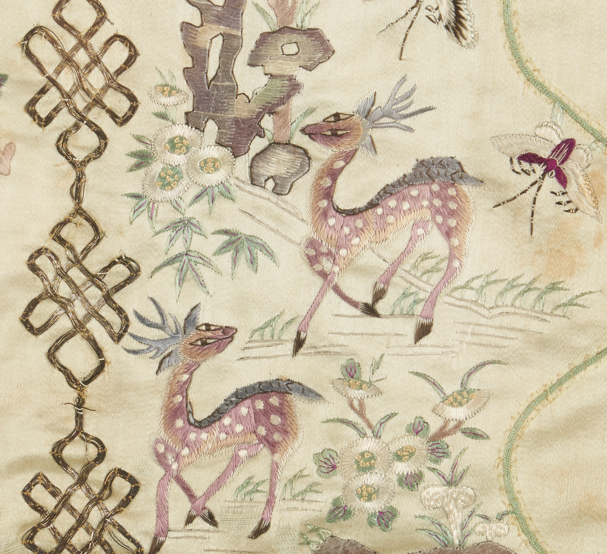Lot 23: 4 Chinese Embroideries, incl. 2 w/ Deer