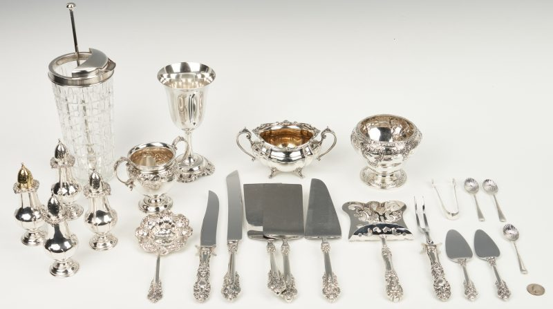 Lot 242: Grand Baroque & Francis I Servers plus Cocktail Shaker