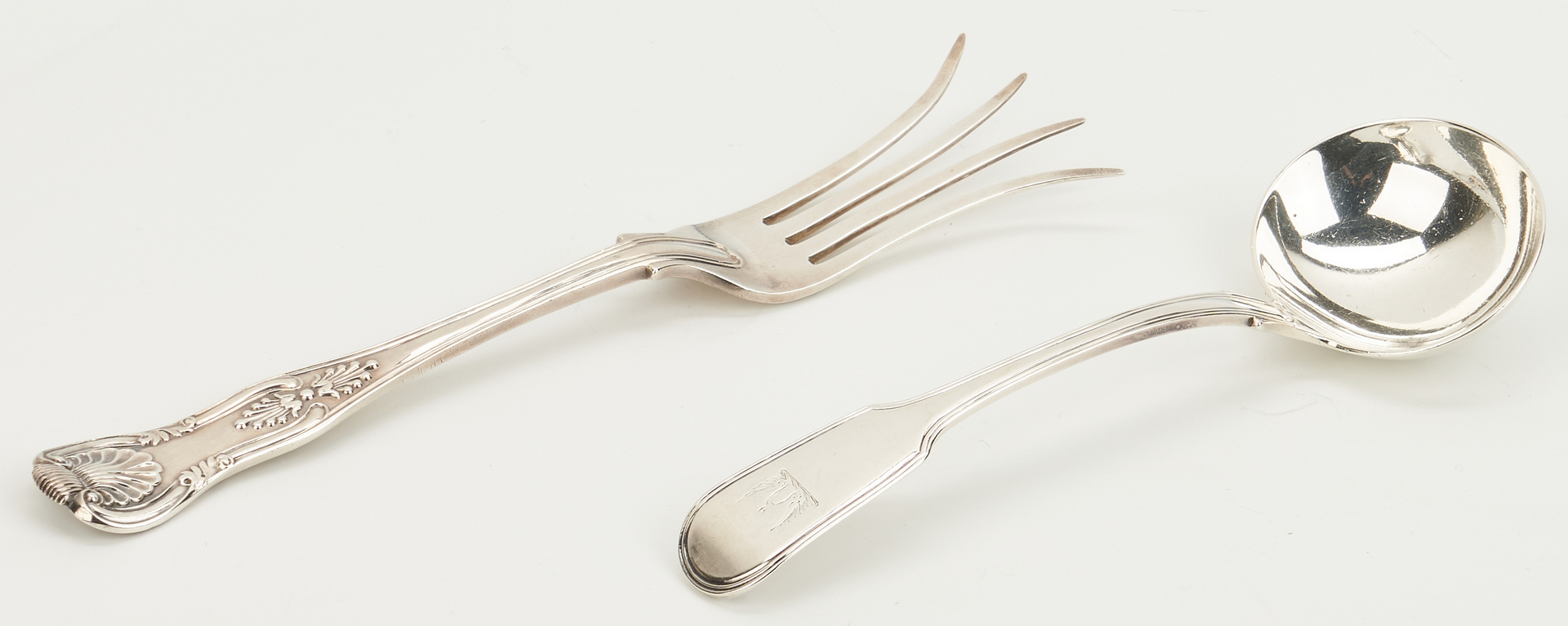 Lot 245: 9 Serving Items, incl. Cream Jug, Asparagus Tongs