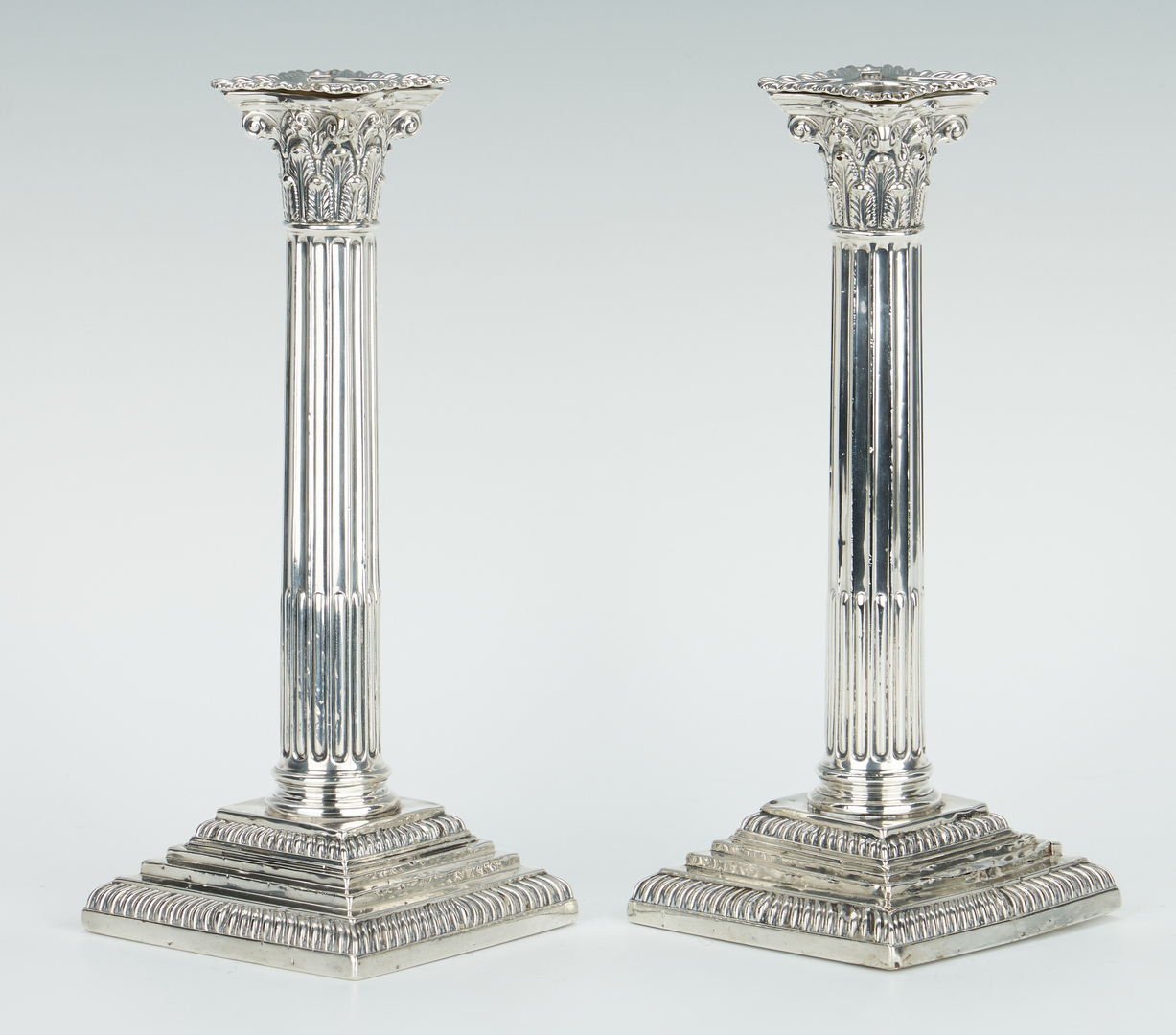 Lot 246: 13 Sterling Silver Items, incl. Candlesticks & Salts