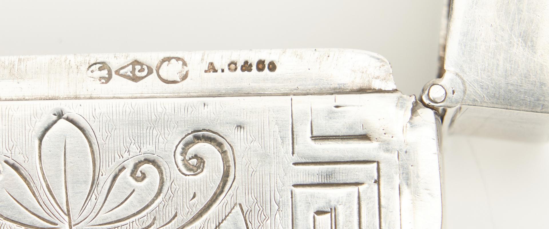 Lot 247: 11 pcs coin silver incl. card case, Cincinnati tongs
