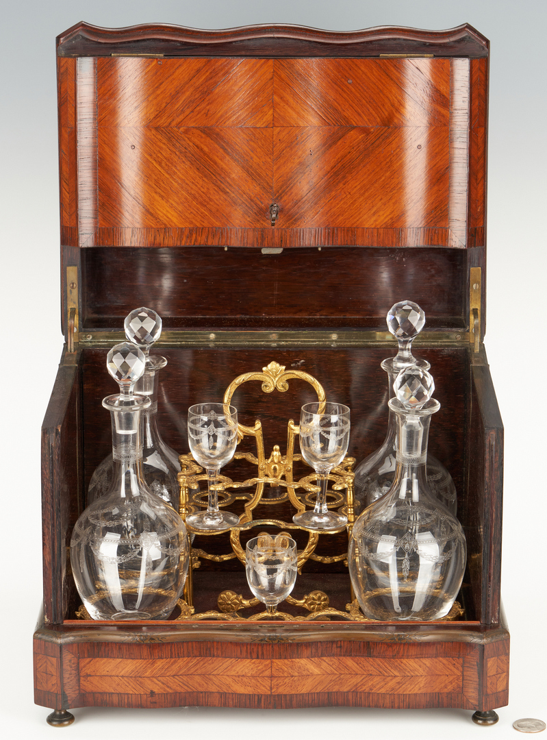 Lot 253: European Tantalus or Portable Liquor Cabinet