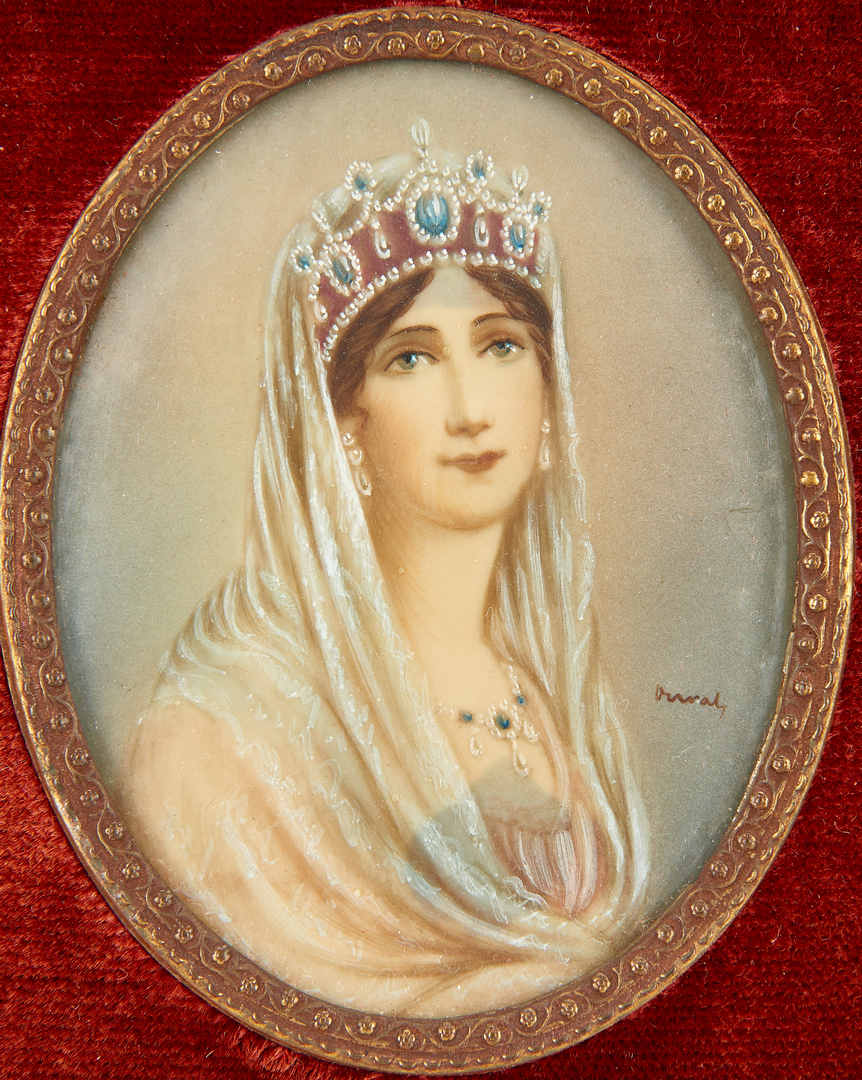 Lot 260: European Porcelain Plaque & 4 Portrait Miniature