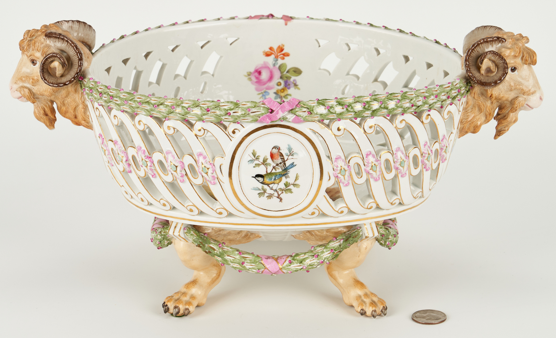 Lot 262: Meissen Porcelain Basket w/ Ram's Head Handles