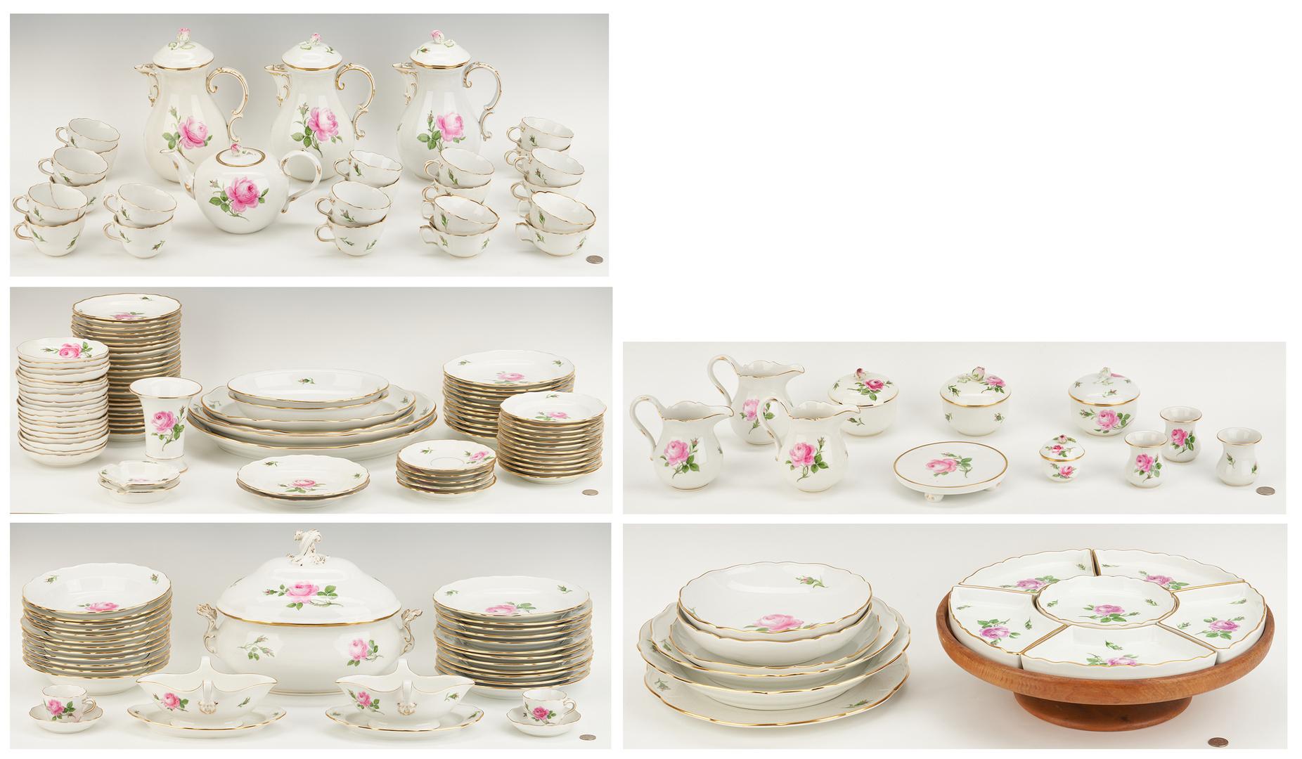 Lot 263: Large Meissen Dinnerware Service, Pink Rose Pattern