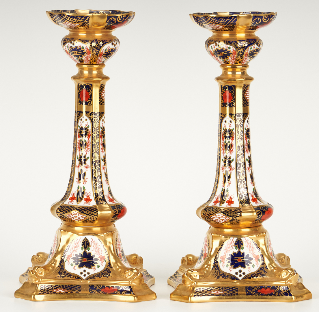 Lot 265: Royal Crown Derby Candlesticks and Cachepot, 4 pcs