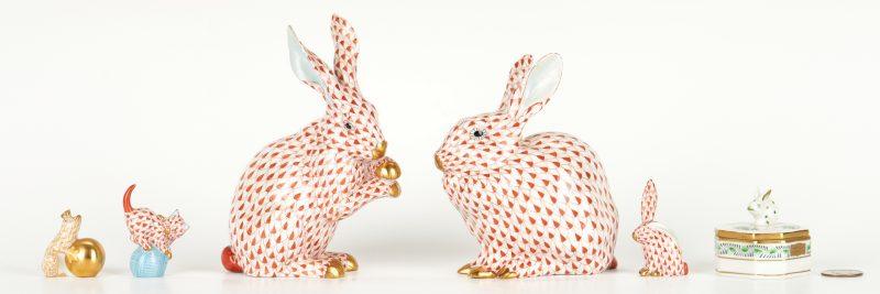 Lot 267: 6 Herend Porcelain Animal Figures
