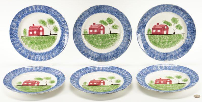Lot 269: 6 Spatterware Plates, Puckett Family TN History