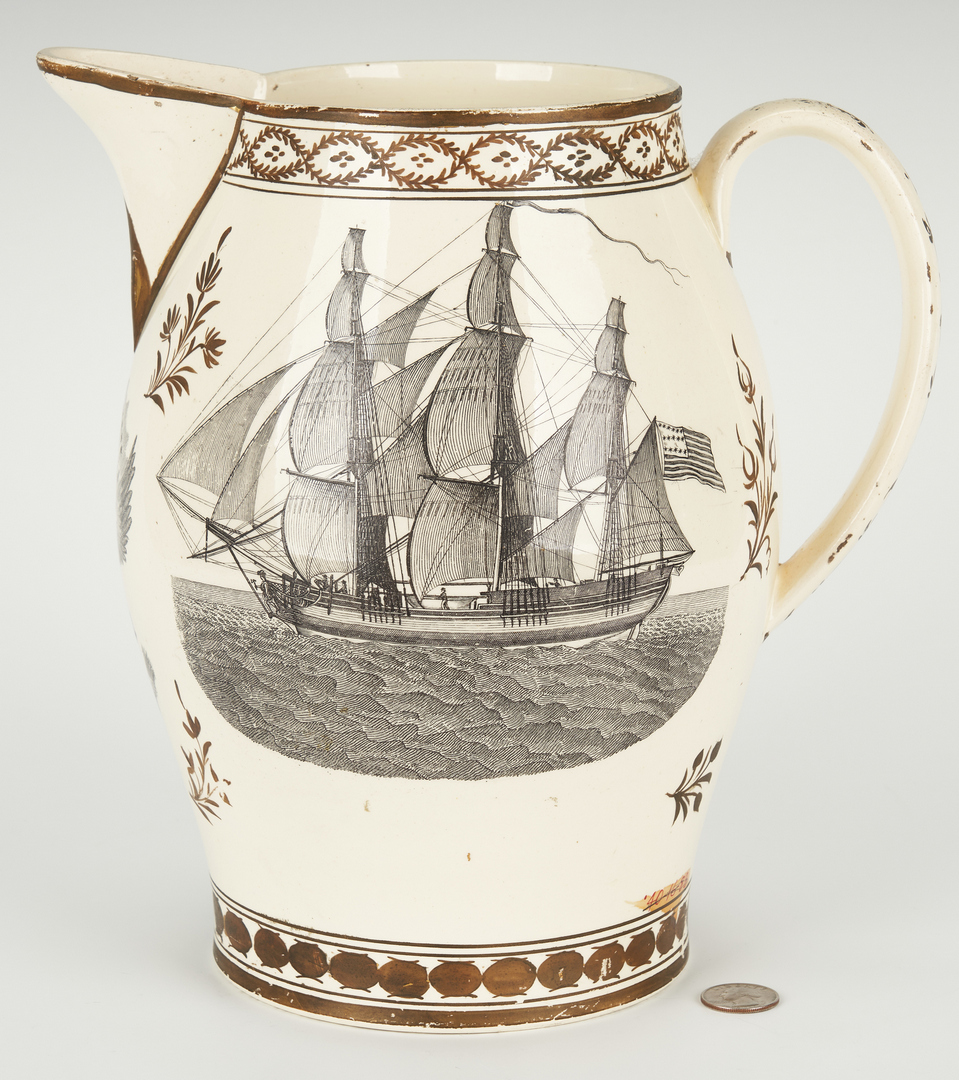 Lot 270: Historical Staffordshire Liverpool Pitcher, Apotheosis of Washington