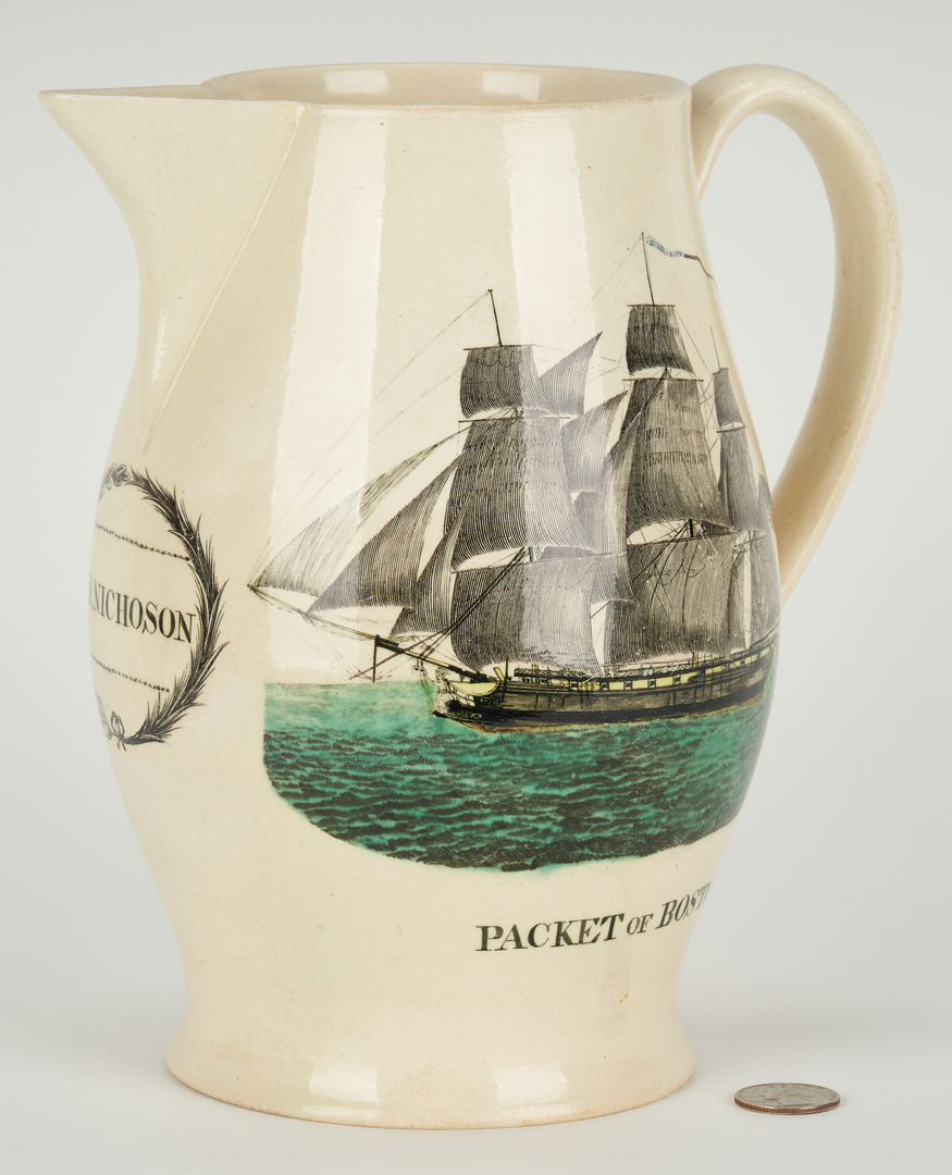 "Lot 271: Historical Staffordshire Liverpool Pitcher, ""Tenassee"""