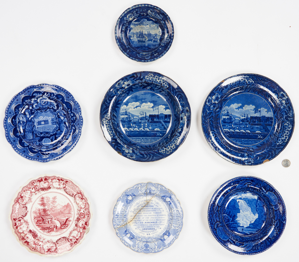 Lot 273: 7 pcs. Historical Staffordshire incl. Slavery Related