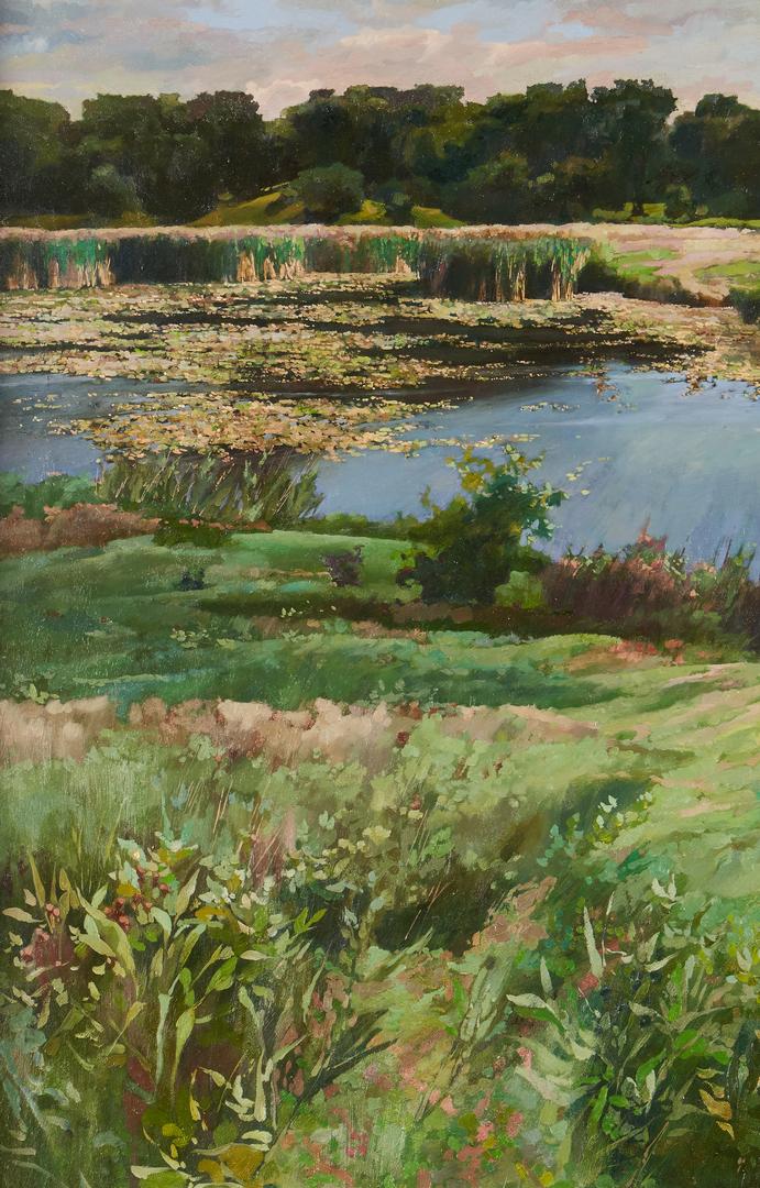 Lot 276: David Akhriev O/C Landscape Painting, Georgia Farm