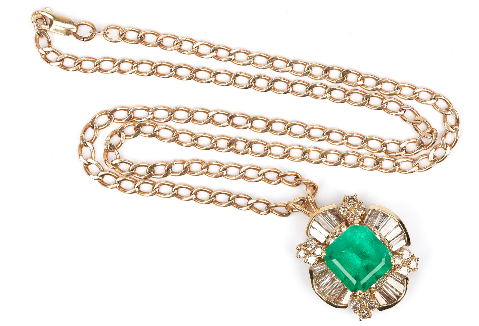 Lot 27: Ladies 11K  Emerald, Gold, & Diamond Pendant & Necklace