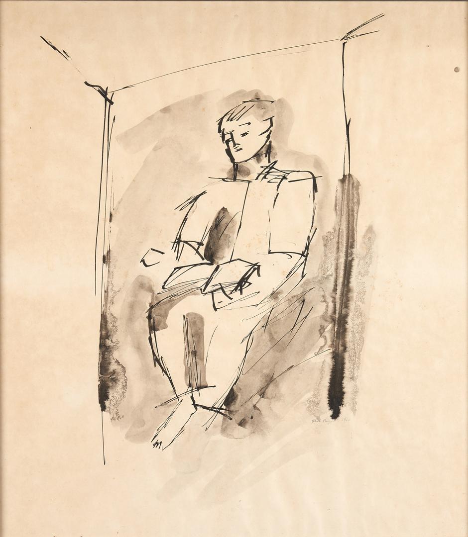 Lot 280: 2 Olen Bryant Watercolors, incl. Self Portrait