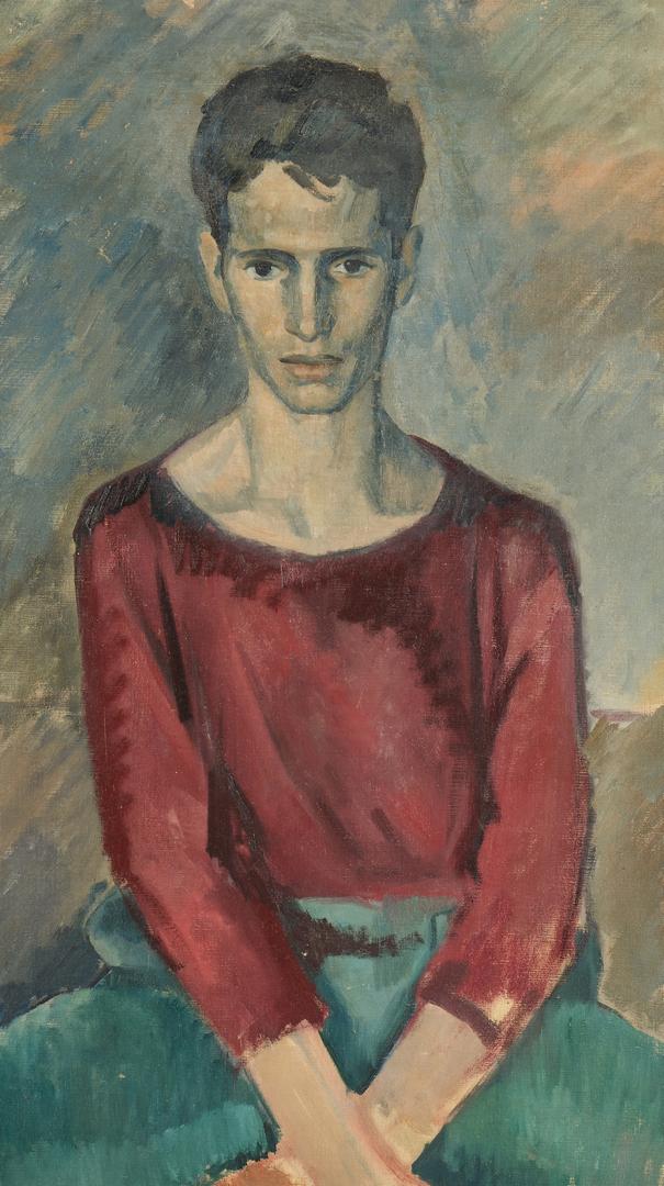 Lot 283: Philip Perkins O/C Portrait of Man in Leotard