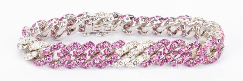 Lot 28: Ladies 18K Pink Sapphire & Diamond Link Bracelet