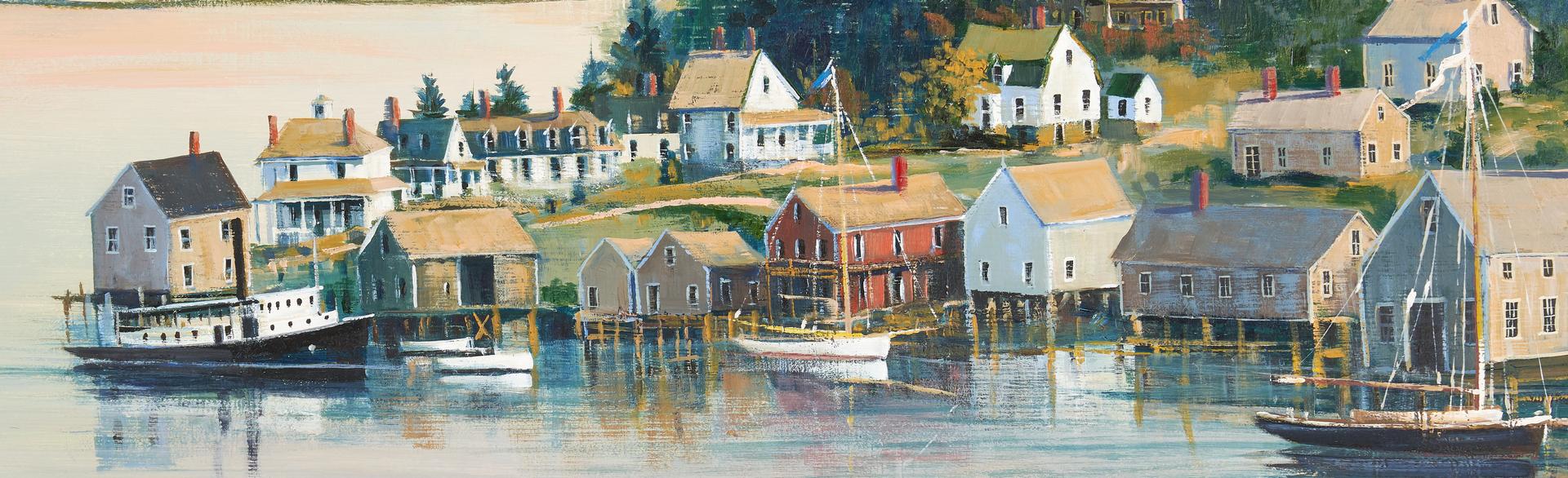 Lot 295: Sally Caldwell Fisher Oil on Board Lake Scene