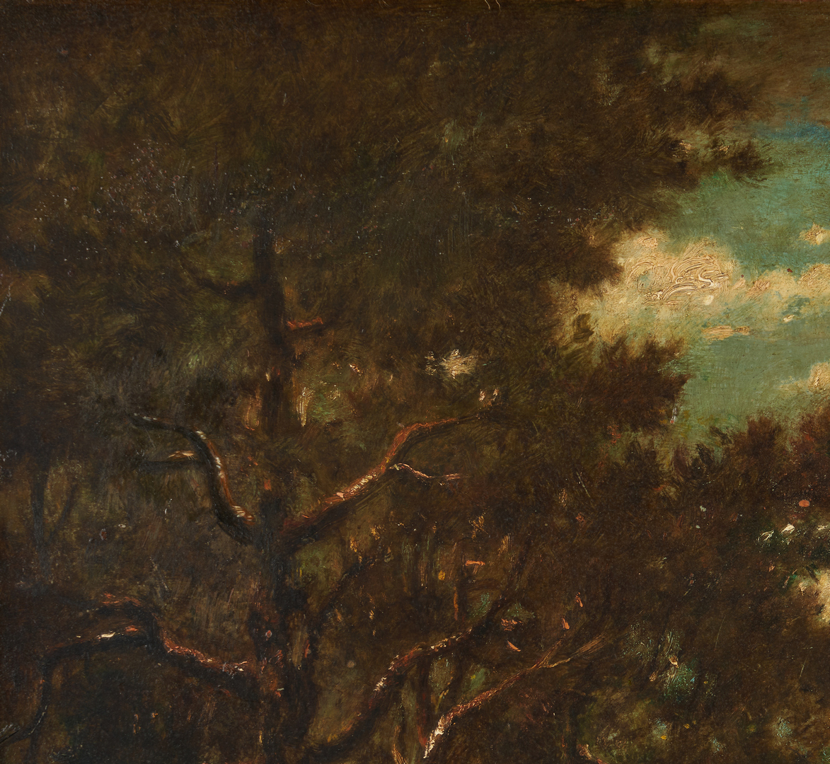 Lot 299: Signed Barbizon Landscape O/P, Titled Lisiere de Foret (Edge of the Forest)