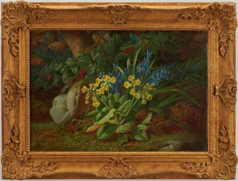 Lot 300: Carl Ferdinand Hurten O/C Floral Landscape
