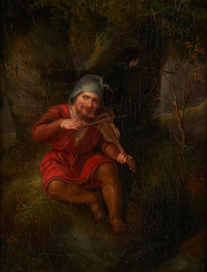 Lot 307: German O/C Gnome Painting, H. Rhomberg