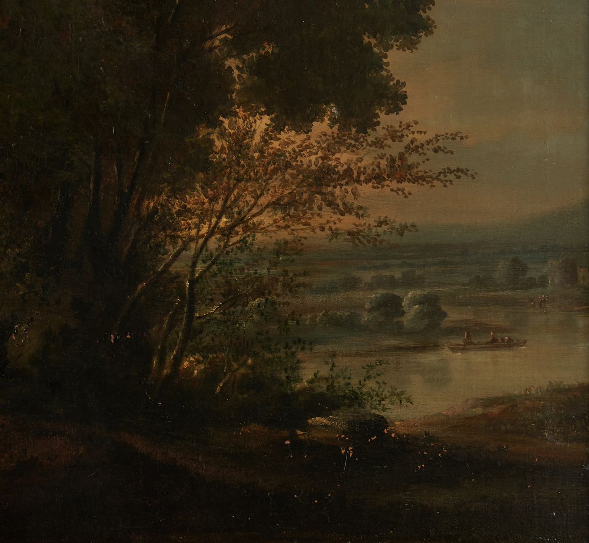 Lot 309: Manner of Claude Lorrain O/C, Landscape with Ruins