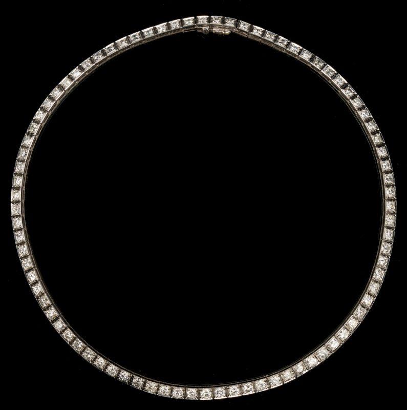 Lot 30: Platinum & Diamond Choker Necklace, approx. 9 Carats