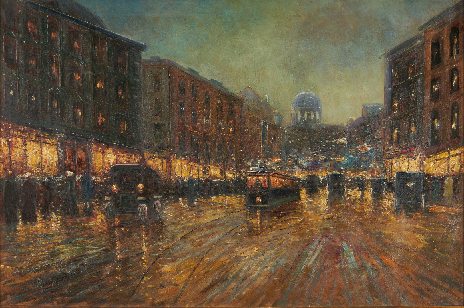 Lot 312: Early 20th c. Parisian O/C Street Scene, Signed