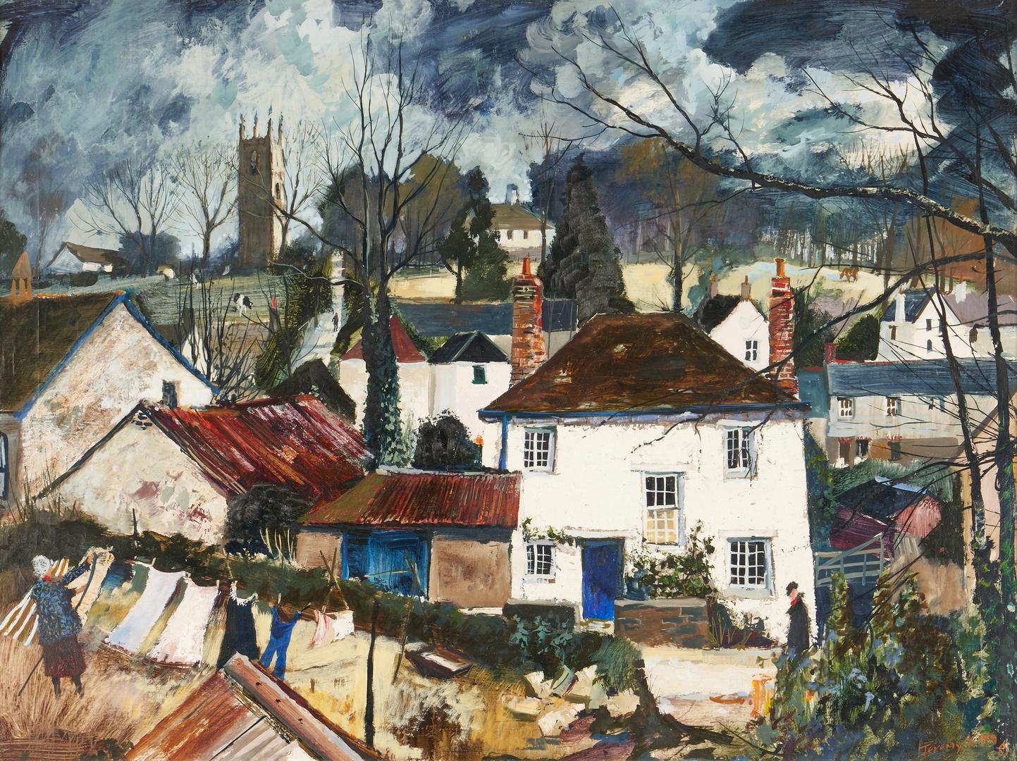 Lot 316: Jeremy King O/B English Village Landscape