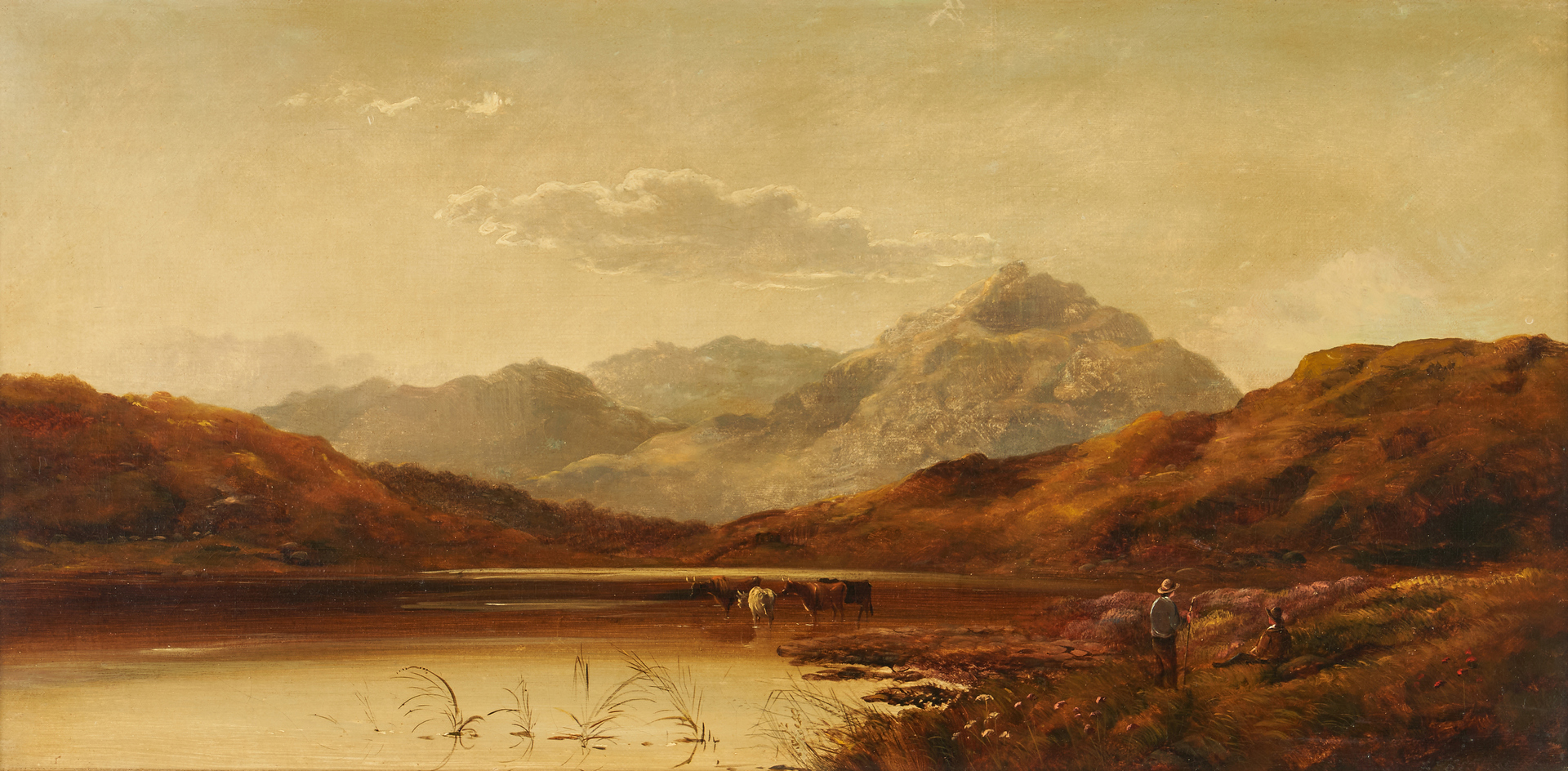 Lot 319: Attr. Charles Leslie, O/C Landscape with figures and cattle
