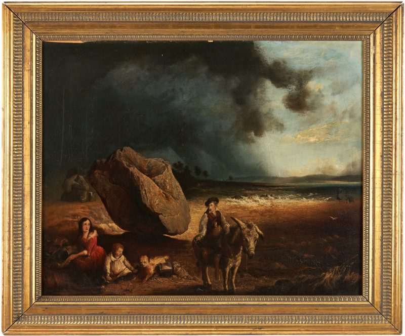 Lot 320: Attr. James Burgess, Figures in an Approaching Storm