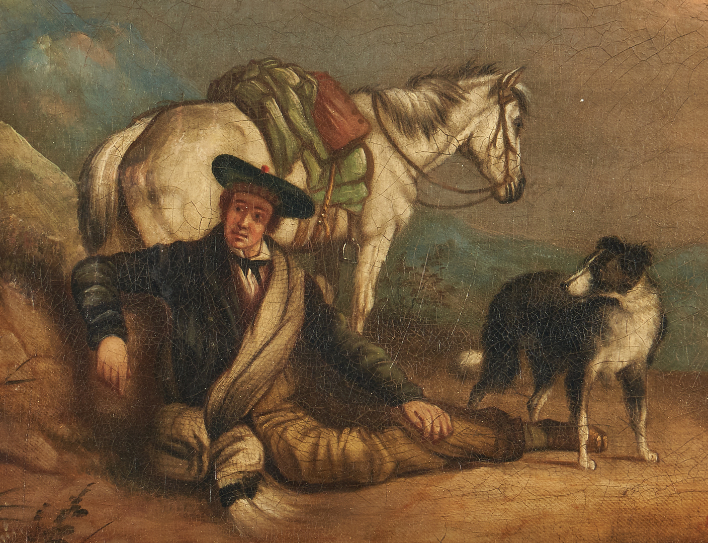 Lot 321: 2 Oil Landscapes: Highland Traveler and Crossing at Schreckenstein