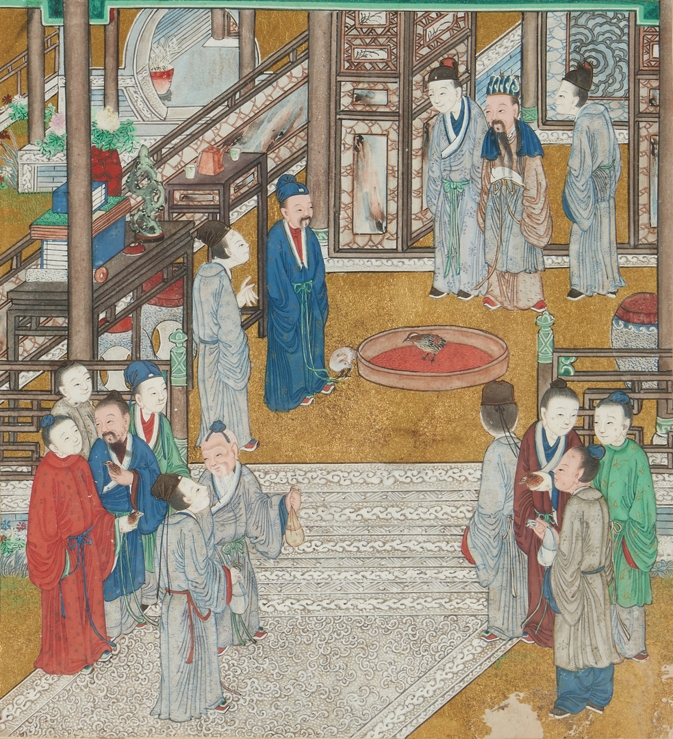 Lot 324: 2 Asian Gouache Paintings + Watercolor on silk